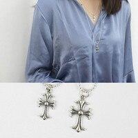 Cổ điển chữ thập 925 sterling silver bạc vòng cổ phụ nữ chở than femme, retro dài dây chuyền & mặt dây joyas de plata 925 đồ trang sức