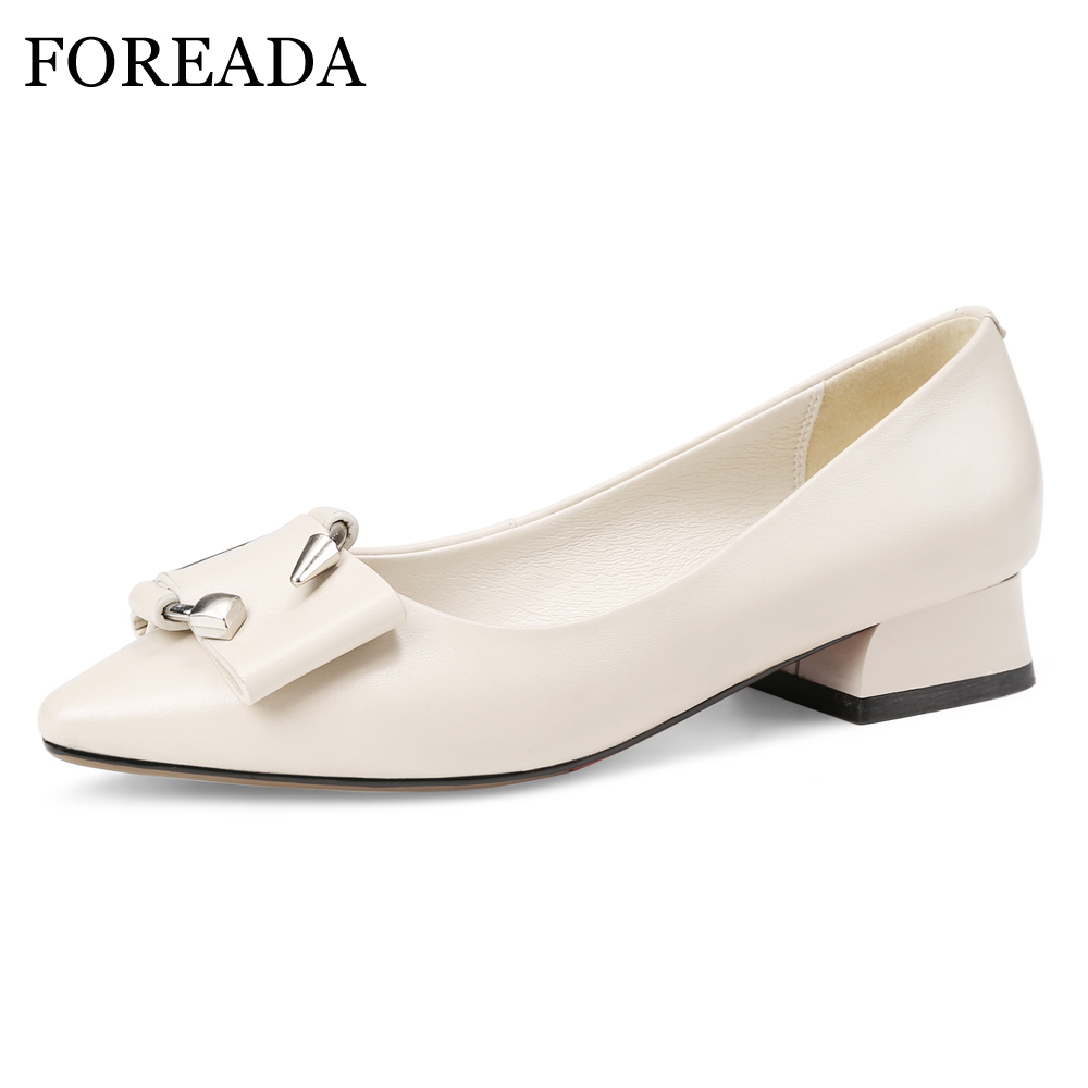 FOREADA Real Leather Boat Shoes Women Natural Genuine Leather Ballet Flats Shoes Buckle Pointed Toe Flat