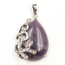 FYJS Unique Jewelry Silver Plated Rhinestone Flower Wrap Natural Purple Amethysts Stone Water Drop Pendant fyjs unique jewelry silver plated rhinestone flower wrap natural purple amethysts stone water drop pendant