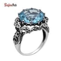 Szjinao Fashion Jewelry Aquamarine Ring 925 Sterling Silver Jewelry 925 Sterling Silver Rings for Women Fashionable Retro
