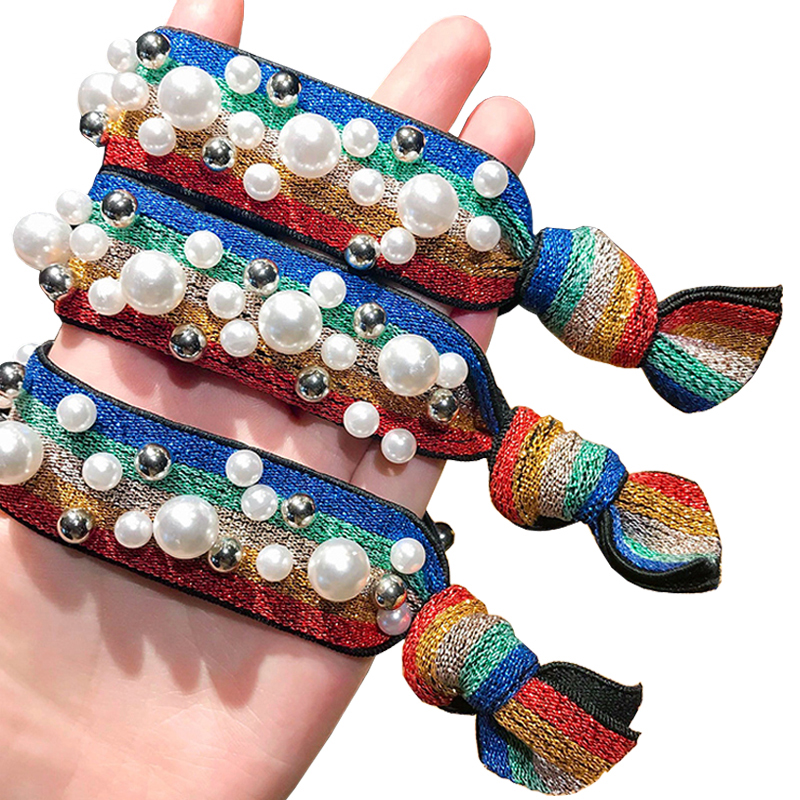 Hot Women   Headwear   Leopard Rainbow Pearl Striped Elastic Hair Rubber Bands Elegant Fashion Adult High Elastic Knotted Head Bands
