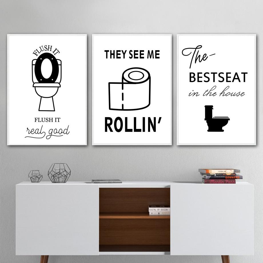 Peinture Pour Les Toilettes wc papier toilette karma citation drôle affiche mur art toile peinture  nordique affiches et impressions mur photos pour salle de bain décor