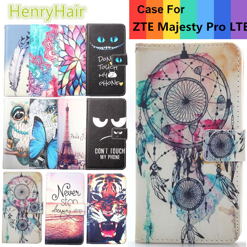 huge discount ede41 3e713 Top Selling 11 Colors Cartoon Painting PU Leather Magnetic clasp Wallet  Cover For ZTE Majesty Pro LTE Case-in Flip Cases from Cellphones & ...