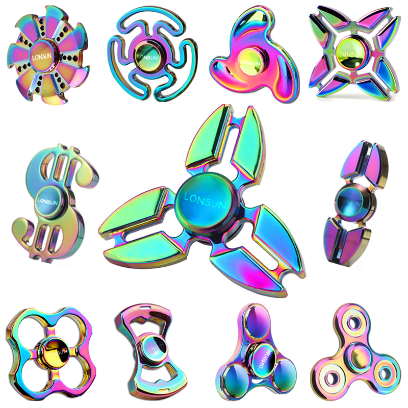 2017 New EDC Tri Spinner Fidget Toys Pattern Hand Spinner Metal Fidget Spinner And ADHD Adult