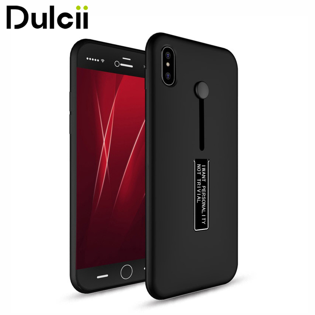 competitive price 15d33 8695a US $7.55 |DULCII for iPhone X Case for iPhone 10 Finger Holder Strap TPU +  PC Kickstand Back Phone Cover Capas for Case iPhone X Shell Bag-in Fitted  ...