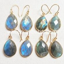 WT E236 Charme Brincos Jóias para As Mulheres Natural labradorite teardrop Facetada Labradorite pedra natural cores belo presente