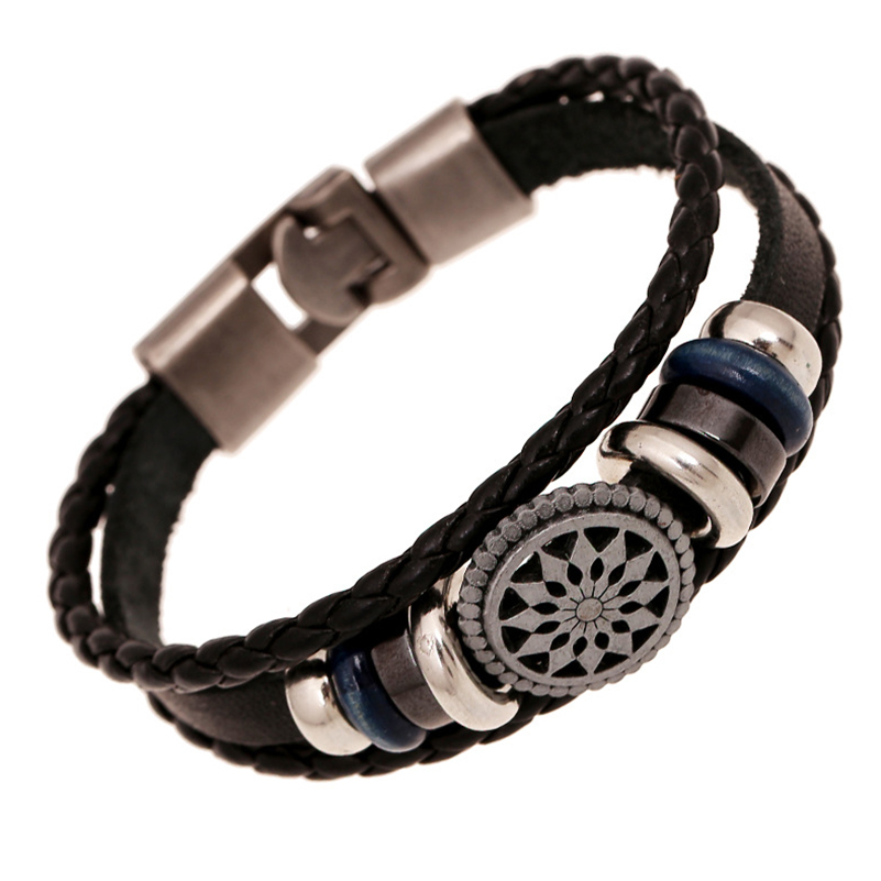 Mens Brown White Metal Hematite Leather Bracelet