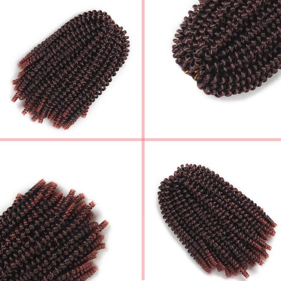 Leeven 8 дюймов пушистые весенние спиральные крючком синтетические накладные волосы вязанные Косы черный коричневый Омбре плетение волос 110 г