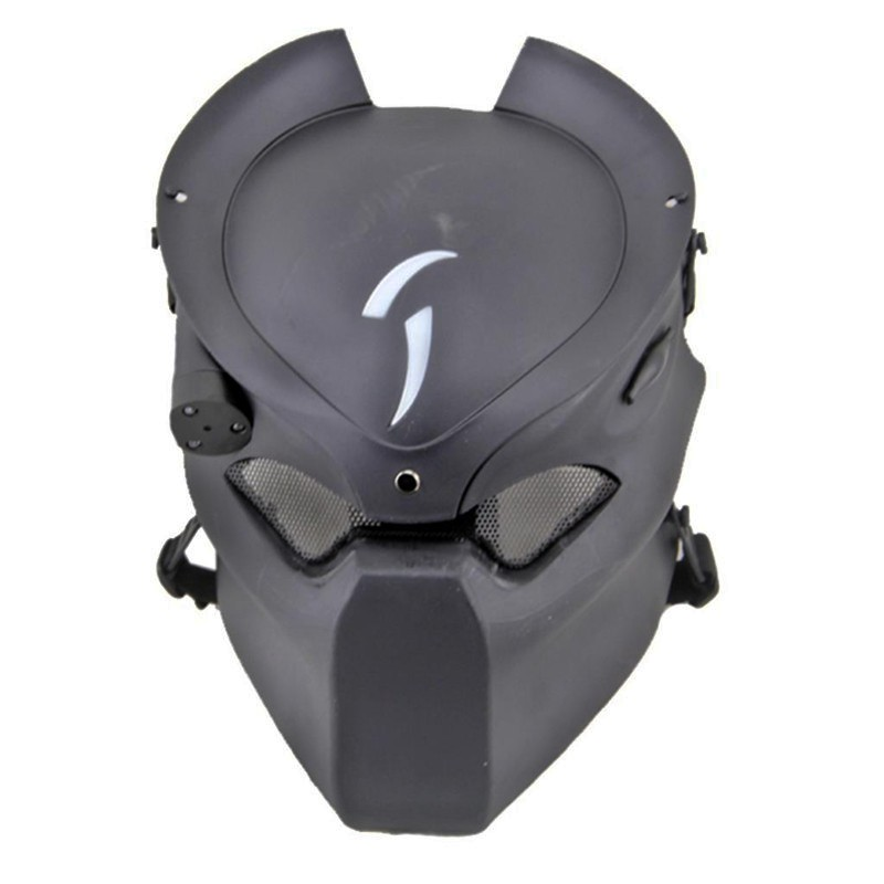 DC14 Tactical Alien Vs Predator Skull Ghost Wolf Full Face Airsoft Mask With Lamp Black Military Army Halloween Party Cosplay halloween black long face ghost mask black red