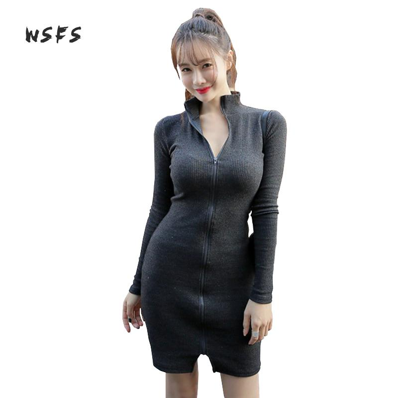 Wsfs Winter Women Dresses Black Knitted Stand Long Sleeve Bandage Stretch Dress Sexy Vintage Party Cotton Bodycon Mini Dress цена