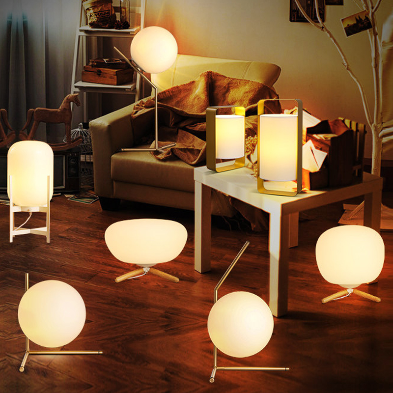 Modern Minimalist Led Night Lights Vintage Table Light Lamp Stand Classic Glass Shade For Bedroom
