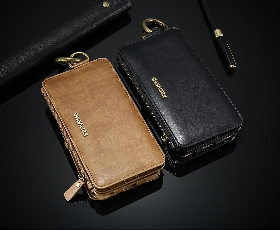 FLOVEME Hybrid Detachable Leather Case For Samsung Galaxy S7 Edge 18 Card Slot Metal Zipper Cash Storage Wallet Pouch Cover Bag (3)