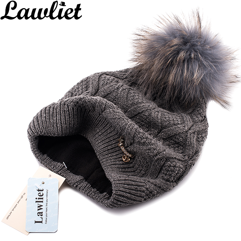 Lawliet Soft Winter Hat Women Beanies New Double-Deck Genuine Raccoon Fur Pom Pom Hat Warm Ear Protect Braid Fleece Knitted Cap