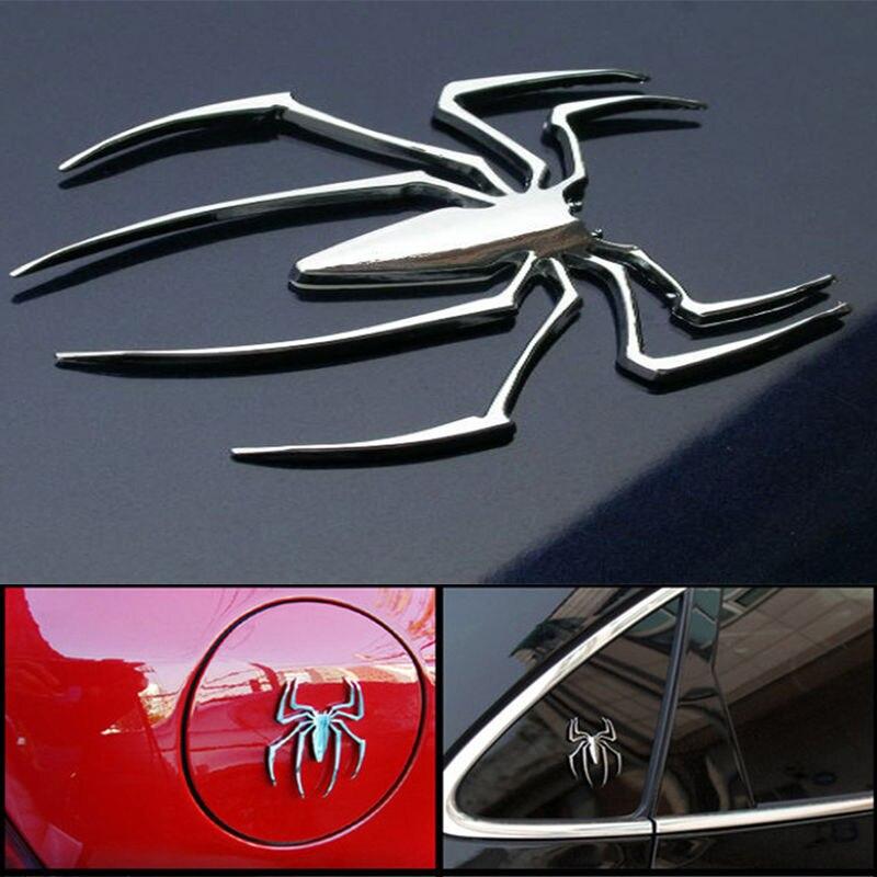 3D наклейка для автомобиля, Универсальная металлическая наклейка в форме паука, хромированная 3d-наклейка для автомобиля, грузовика, двигате...