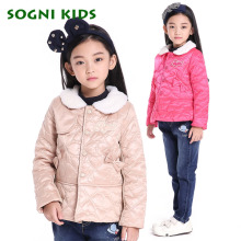 girls Winter jacket children's clothing 2016 child cotton-padded jacket coat Bow Striped printing kids Girls warm wadded jacket