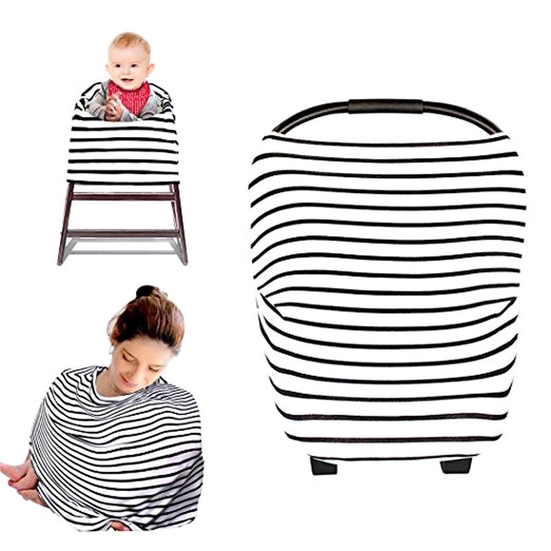 Nursing Breastfeeding Cover Multi Use Scarf Baby Car Seat Canopy Shopping Cart Cover Unisex infant Gift with Baby in Car Decal