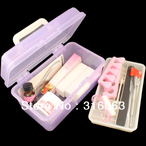 Free shipping Nail Art Manicure Cuticle Buffer File Treatment nail art kit  with Small suitcase NA441