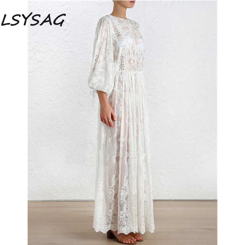 LSYSAG Women Midi Dress Backless Cross Back Strap Embroidery White Lace Flower Clothing Over Autumn Fashion See Through Elegant