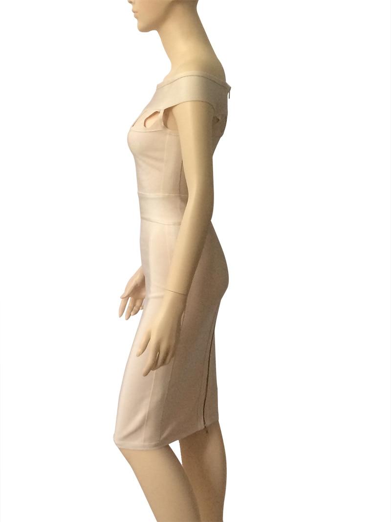 Bandage Slash 2018 De Évider Longueur Gaine Nouveautés Robe Sexy Femmes L'épaule Md692 Genou Club Photo As Moulante Cou Parti ttRB67qw