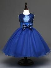 Мода детей свадебные платья вечера партии элегантный для свадьбы короткие дети синий блесток платья девушки