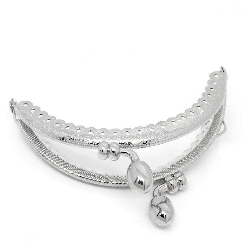 ̿̿̿(•̪ )2 unids Tono de plata rizado arco de metal Marcos cerradura ...