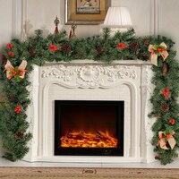 1.8M Christmas Rattan Decoration Bar Tops Ribbon Garland Christmas Tree Ornaments White Dark Green Cane Tinsel Party Supplies