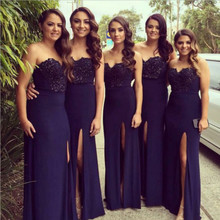 Navy Blue Bridesmaid Dresses Split vestido longo 2016 Wedding Party Dress Prom Gowns Fitted Burgundy Plus Size