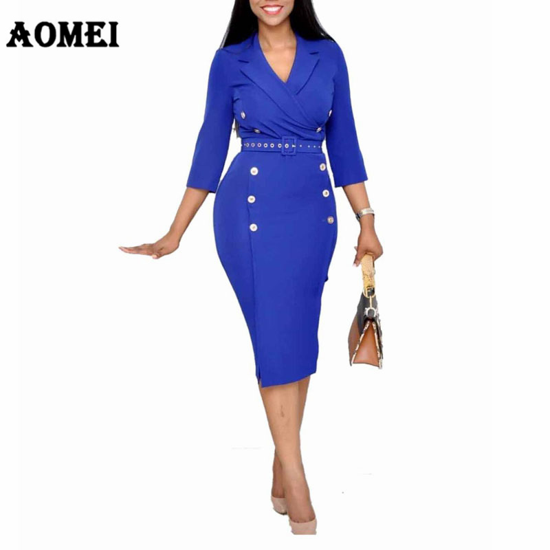Women Dress Elegant Ladies Office Wear Waist Belt Double Buttons Bodycon Slim Classy Modest Tunic Femme Package Hip Robe Spring