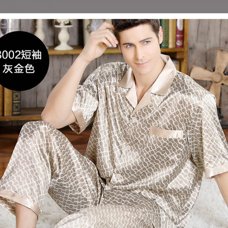 2019 New Summer Silk Short Sleeve Pajama Set Pajamas Sleepwear Silk Nightgown Home Stian Soft Cozy Thin Coat Pants Housewear