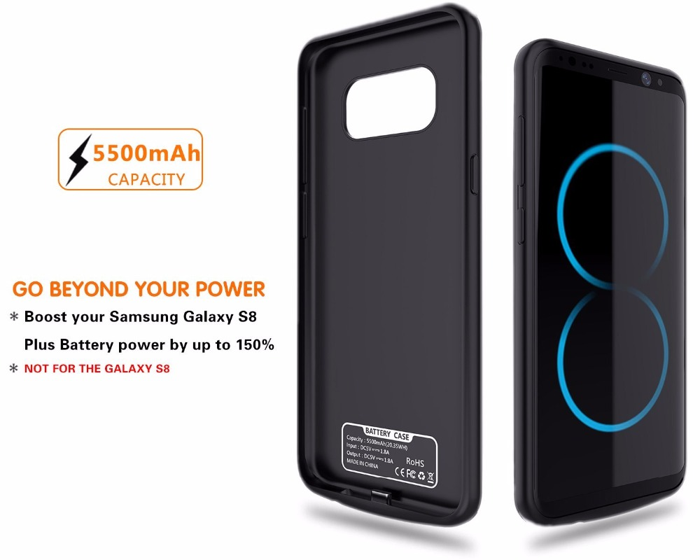 quality design 17f52 d68d8 US $39.98 |For Samsung galaxy S8 plus 5500mah battery case, Rechargeable  Power Bank External Battery Charger Case Cover extended battery -in Battery  ...