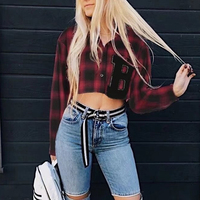 Korean Style Women Letter Appliques Plaid Contrast Color Shirt Casual Turn Down Collar Casual Loose Sun
