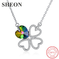 SHEON Authentic 925 Sterling Silver Sparkling Heart Crystal Four Leaf Clover Pendant Necklaces for Women Sterling Silver Jewelry
