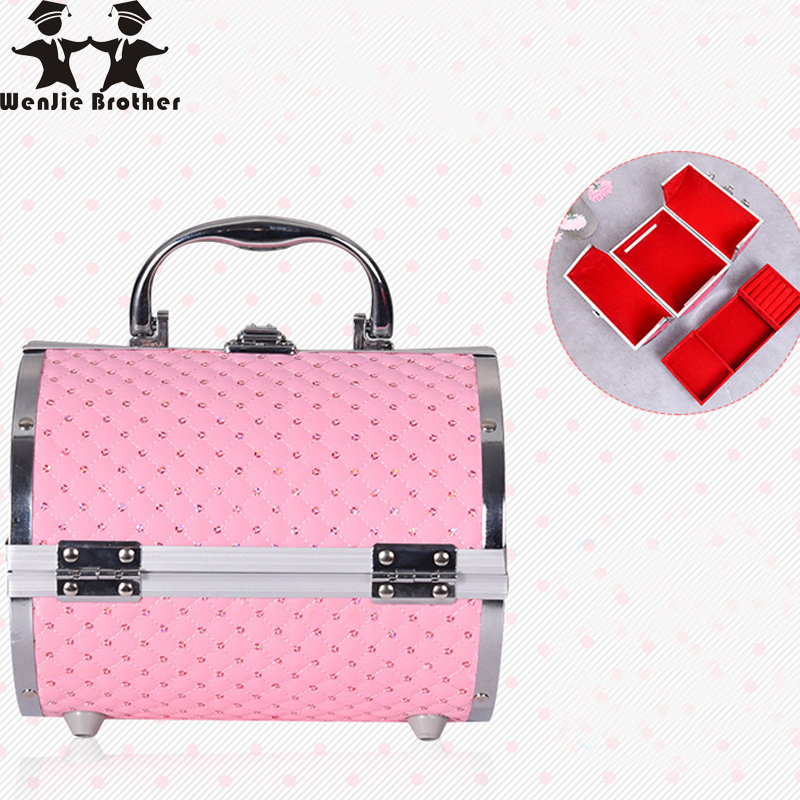 wenjie brother pillow design Aluminium alloy Make up Box Makeup Case Beauty Case Cosmetic Bag Multi Tiers Lockable Jewelry Box