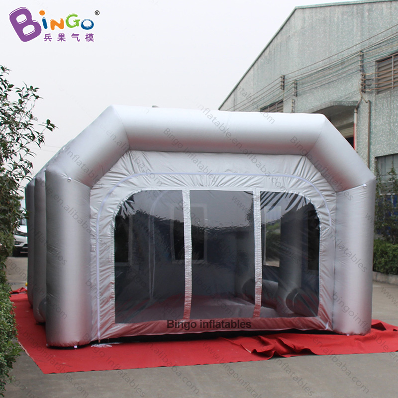 FACTORY OUTLET 6x4x2.7m inflatable sliver spray booth custom made air blow balloon for car printing decorating tent with advertFACTORY OUTLET 6x4x2.7m inflatable sliver spray booth custom made air blow balloon for car printing decorating tent with advert