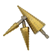 3PCS Step Drill Titanium Coated Bit Carpentry Tools Metal Hexagonal Wood Electrical Cone