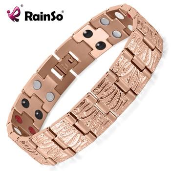 RainSo Titanium Magnetic Bracelets & Bangle 2 Row Health Care Elements Germanium Healing Bracelet Health Hologram Wristbands 1