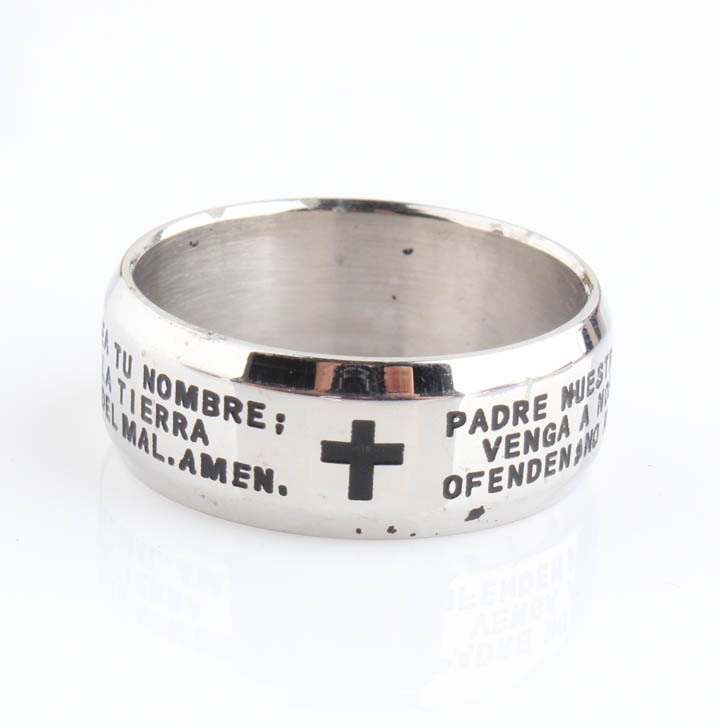 Hot Fashion Punk Personality Men Titanium Stainless Steel Black Bible Words The Lords Prayer Cross Ring Finger Rings 8mm