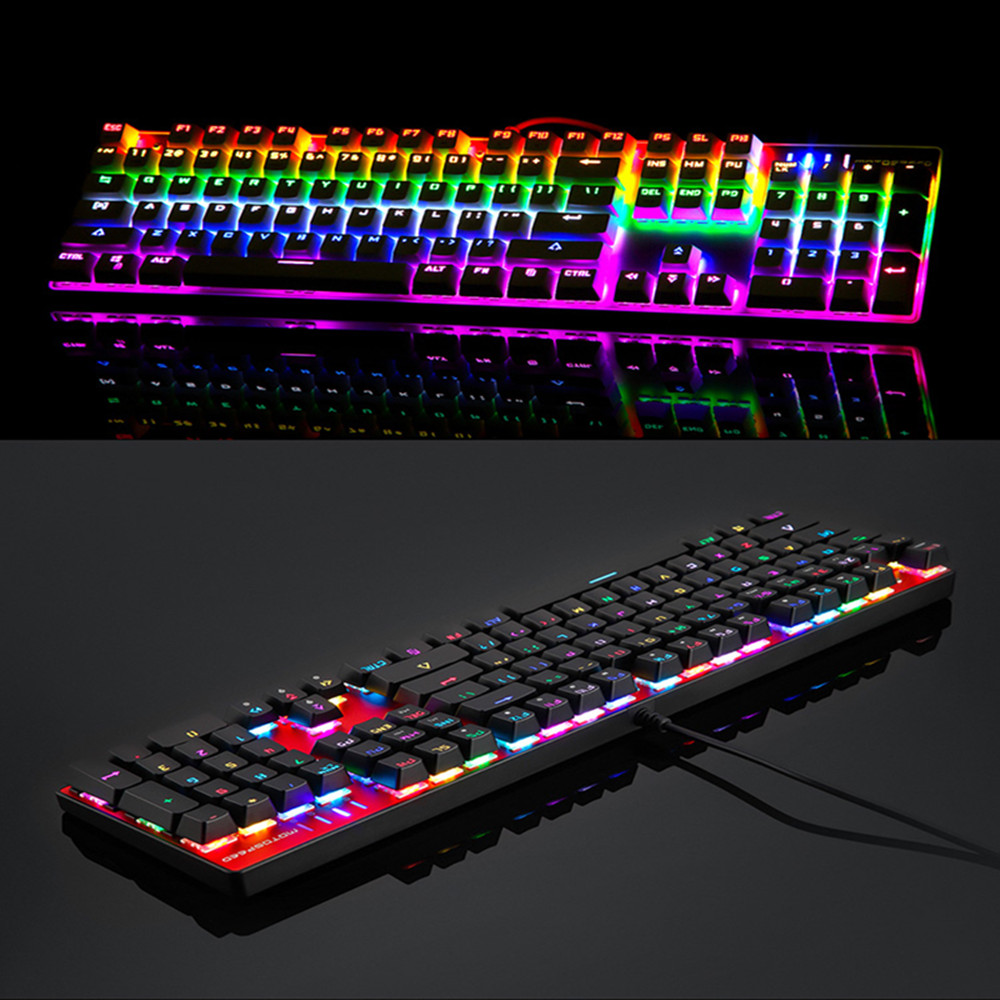 MOTOSPEED CK104 RGB Backlight Russian English Mechanical Keyboard Anti-Ghosting Gaming keyboard For Teclado Game Computer TV BOX