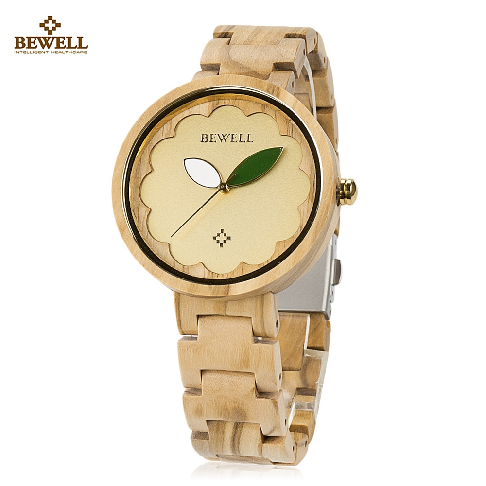 BEWELL ZS - W152A Female Wooden Watch Bloom Dial Leaf Luminous Pointer Natural Wristwatch for Women все цены