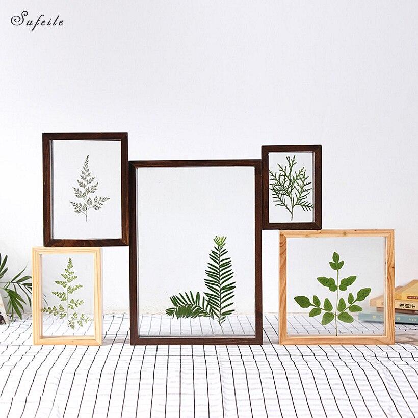 SUFEILE DIY creative specimen photo frame Home decor photo wall HD double-sided glass photo frame Plant specimen frame D50