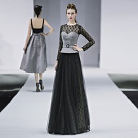 Autumn New Floor Length Full manual black lace Sexy Star full Prom Party Evening dresses 2018 Night entertainment venue dress