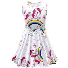 купить Girls Sleeveless Dress Kids Summer Rainbow Unicorn Print Princess Dress Child Sweet Style Clothes дешево