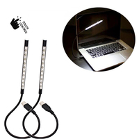 2 Pack Flexible Stick Touch Switch USB LED Light For Laptop 10LEDs Bulbs Portable Non Dimmable