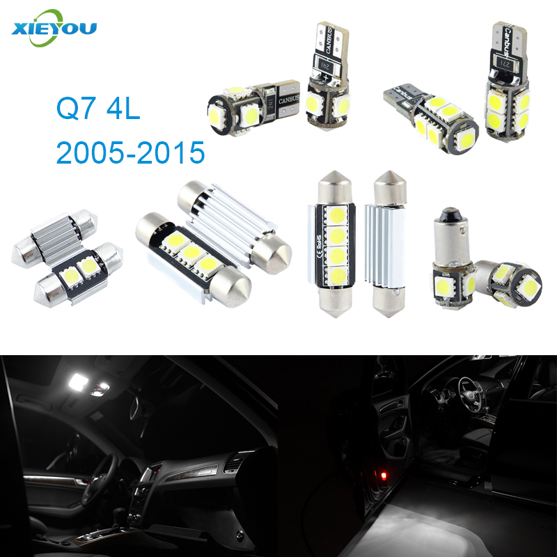 XIEYOU 16pcs LED Canbus Interior Lights Kit Package For Audi Q7 4L (2005-2015) cawanerl car canbus led package kit 2835 smd white interior dome map cargo license plate light for audi tt tts 8j 2007 2012