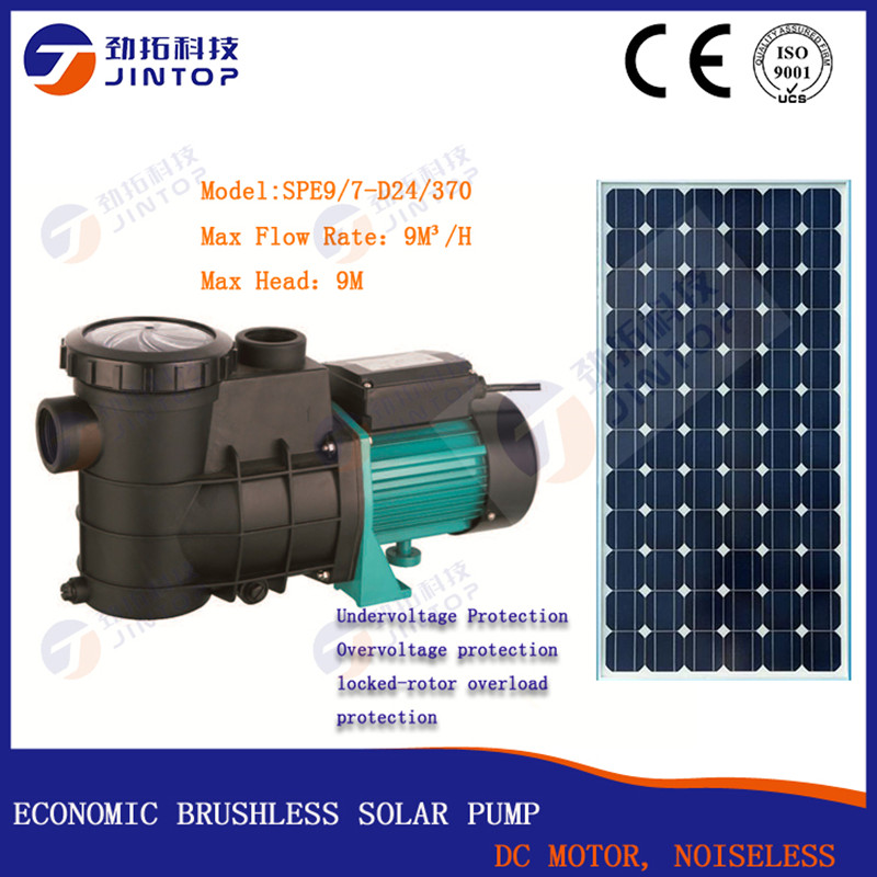 (MODEL SPE9/7 D24/370) JINTOP SOLAR SWIMMING POOL PUMP Free Shipping 9T/H DC24v 0.5HP Circulating Pump With Inset MPPT Controll