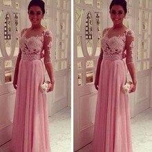 купить Long Pink Chiffon Prom Dress with Sleeves A Line See Through Sweetheart Full Length Evening Party Gown Vestido De Festa Soiree дешево
