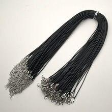 Atacado 1.5 MILÍMETROS preto corda Cera colar de cordão de fecho da lagosta de boa qualidade Moda Jóias pingente cords 50 pçs/lote Frete grátis