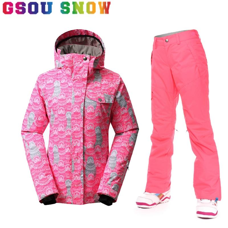 Prix pour 2017 Gsou Snow Femmes Veste de Ski Alpinisme Ski Snowboard Costumes Sports de Plein Air Imperméable Coupe-Vent Chaud Ski Vestes et Pantalon