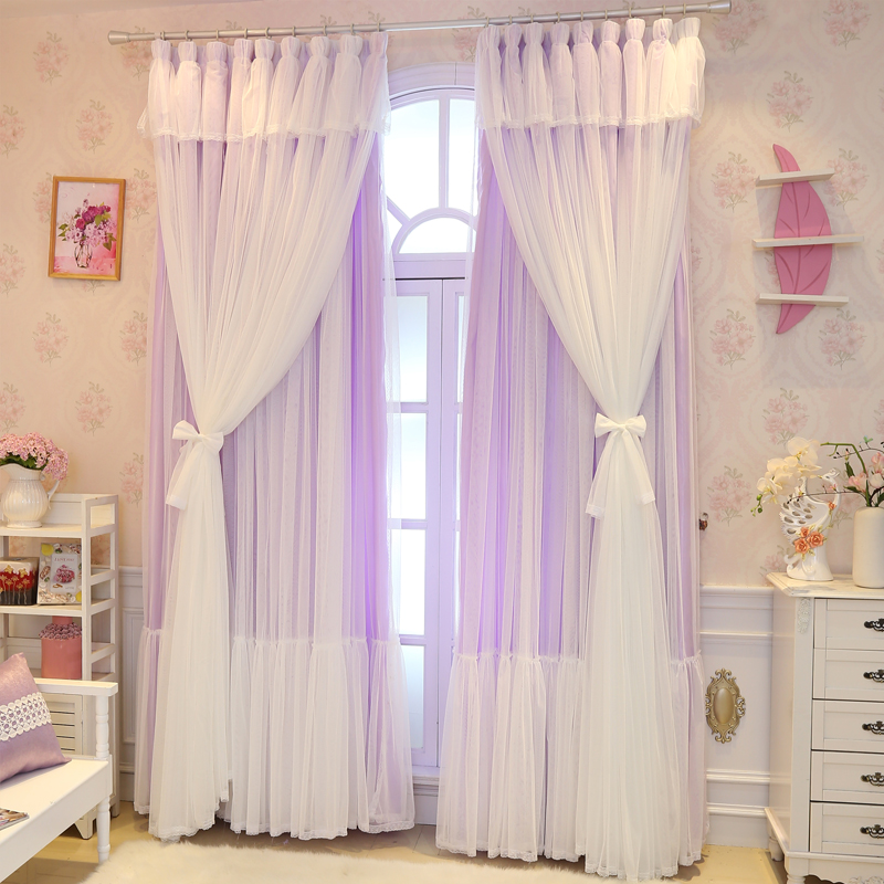 Senisaihon Christmas Princess Lace Pink Blackout Curtain Girl Bedroom Tulle Curtain Wedding Room