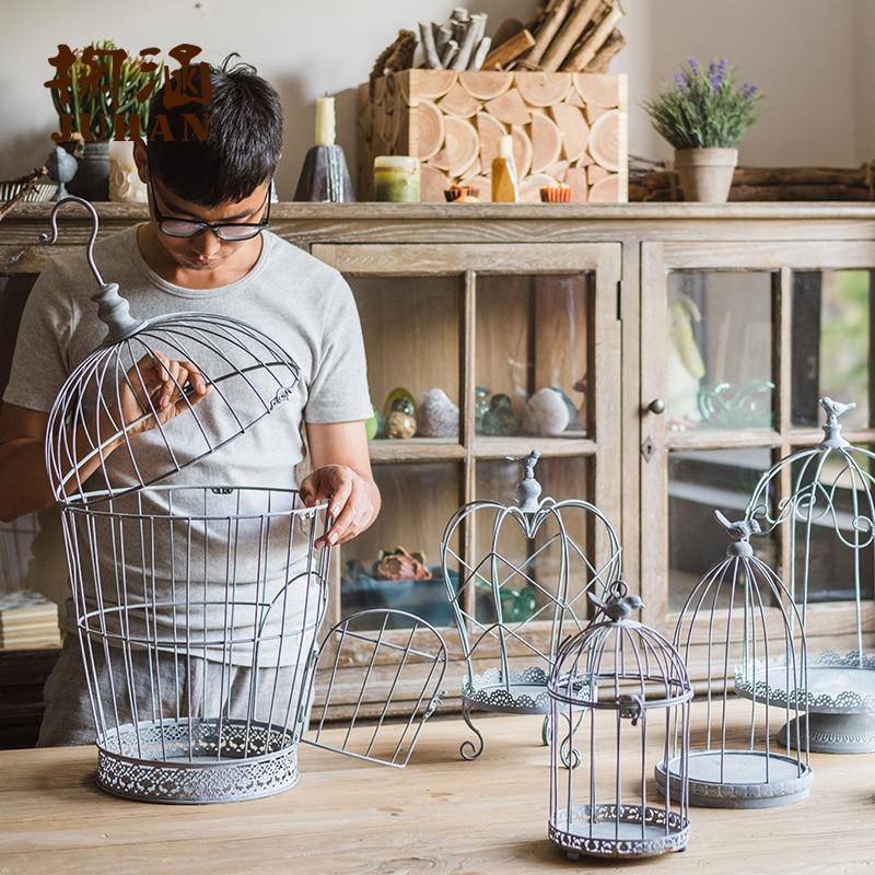 Iron Decoration Bird Cage  Candleholder  Flower Arrangement  Desktop Landscape  Retro Shop Window Wedding|Figurines & Miniatures| |  - title=